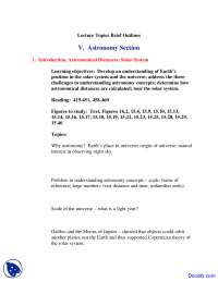 Astronomy Section - Planet Earth - Lecture Notes