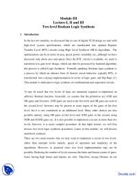 Two level Boolean Logic Synthesis - Design Verification and Test - Lecture Notes