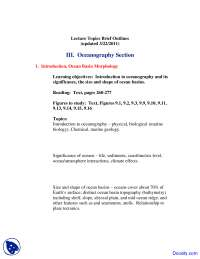 Oceanography Section - Planet Earth - Lecture Notes