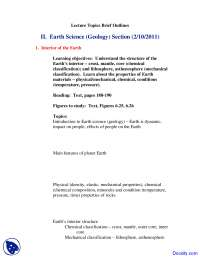 Earth Science - Planet Earth - Lecture Notes