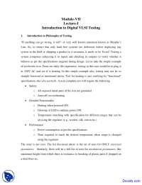 Digital VLSI Testing - Design Verification and Test - Lecture Notes