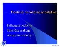 Reakcije na lokalne anestetike-Slajdovi-Anesteziologija i reanimatologija-Medicina