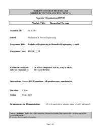 Oxygen Analyser - Biomedical Devices - Past Exam Paper