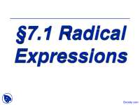 Radical_Expressions Two - Intermediate Algebra - Lecture Slides