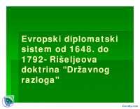 Evropski diplomatski sistem od 1648-Slajdovi-Istorija diplomatije-Medjunarodni odnosi