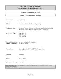Bus Network -Automation Systems - Past Exam Paper