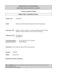 Conditioning Amplifier -Automation Systems - Past Exam Paper