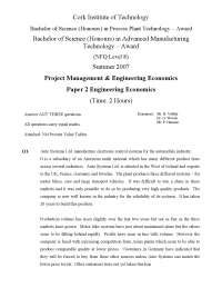 Commission a Report - Engineering Economics - Past Exam Paper