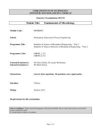 Solid Media - Fundamentals of Microbiology - Past Exam Paper