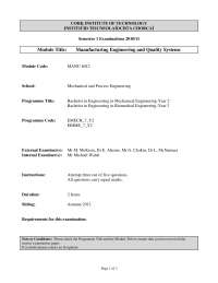 Pure Metals - Manufacturing and Quality Engineering - Past Exam Paper