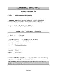 Reliability Testing - Maintenance and Reliability - Past Exam Paper