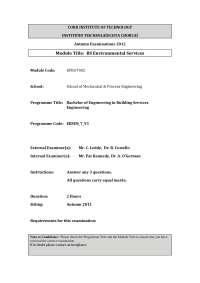Schematic Diagram - Environmental Services - Past Exam Paper