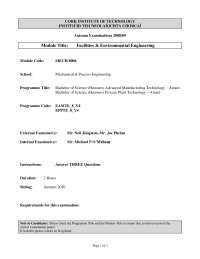 Meter Readings - Facilities and Environmental Engineering - Past Exam Paper