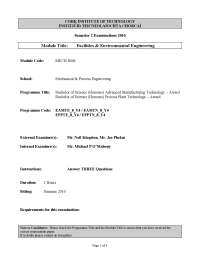 Lighting System - Facilities and Environmental Engineering - Past Exam Paper