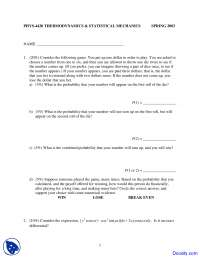 Combined Probability - Thermodynamics and Statistical Mechanics - Exam