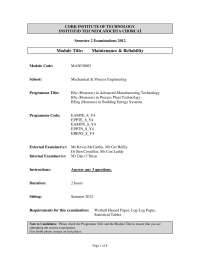 Reliability Function - Maintenance and Reliability - Past Exam Paper