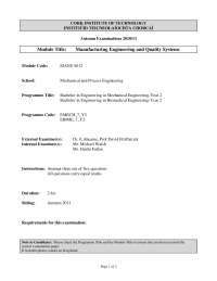 Injection Moulding - Manufacturing and Quality Engineering - Past Exam Paper