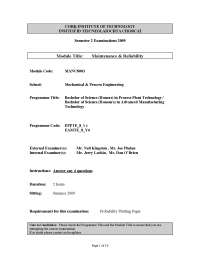 Density Function - Maintenance and Reliability - Past Exam Paper