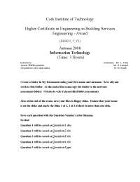 Cooperative Society - Information Technology - Past Exam Paper