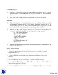 Concrete Mix Design - Civil Engineering - Quiz