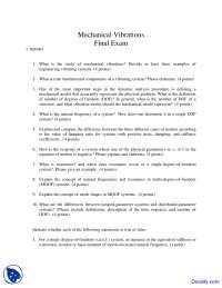 Engineering Vibrating Systems - Mechanical Vibrations - Exam