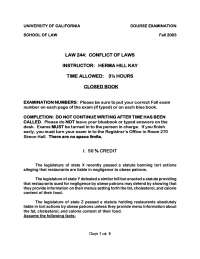 Sued for Negligence - Conflicts of Laws - Past Paper