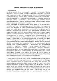 Studium przypadku pensjonat w Zakopanem - Notatki - Marketing