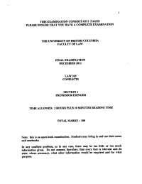 Action in Defamation - Conflicts of Laws - Past Paper, Exercises for Contract Law