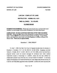 Damages for Emotional Harm - Conflicts of Laws - Past Paper