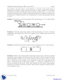 Convention - Modeling of Physical Systems - Home Work