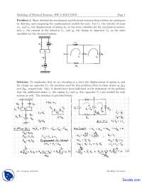 Mechanical Two - Modeling of Physical Systems - Home Work