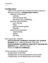 Configuration - Principles of Software Development - Lecture Notes