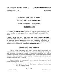 Contract of Employment - Conflicts of Laws - Past Paper