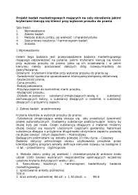 Projekt badań marketingowych dotyczących wyboru proszku do prania - Notatki - Badania operacyjne