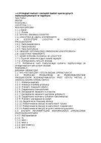 Przegląd metod i narzędzi badań operacyjnych wykorzystywanych w logistyce - Notatki - Badania operacyjne