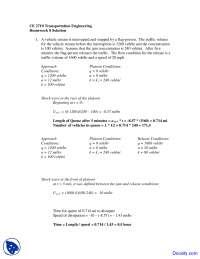 Platoon Conditions - Transportation Engineering - Solved Homework
