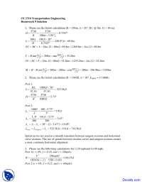 Spiral Curves - Transportation Engineering - Solved Homework