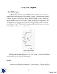 Audio Amplifier - Analog Electronics - Lab Handout