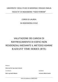 Valutazione dei carichi di raffrescamento di edifici non residenziali mediante il metodo ASHRAE Radiant Time Series (RTS)