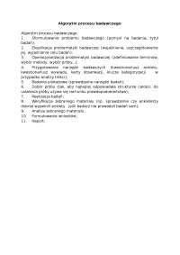 Algorytm procesu badawczego - Notatki - Komunikacja społeczna
