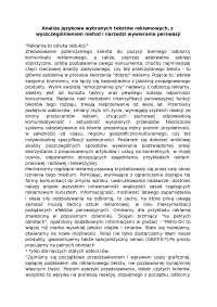 Analiza językowa wybranych tekstów reklamowych - Notatki - Reklama