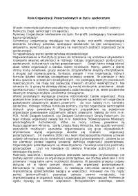 Rola organizacji pozarzadowych w życiu społecznym - Notatki - Polityka