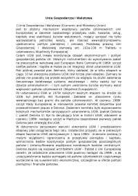 Unia Gospodarcza i Walutowa - Notatki - Stosunki międzynarodowe
