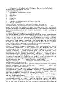 Wstęp do Nauki o Państwie i Polityce, determinanty polityki - Notatki - Polityka