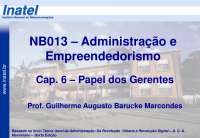 NB013 Cap 6 Papel dos Gerentes A2013 S1, Notas de estudo de Engenharia Informática