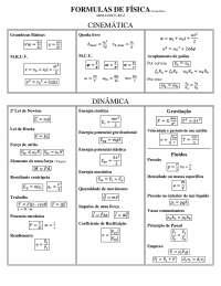 Fórmulas de Física - Apostilas - Engenharia Mecânica