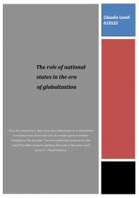 The role of national states in the era of globalization