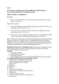Prawa autorskie - Notatki - Prawo