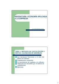 Tema 5- Métodos de capitalización. Valoración de inmuebles
