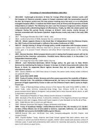 Chronology of  International Relations 1815-2011